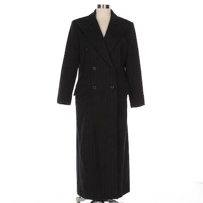 Lauren Ralph Lauren Pinstripe Wool Blend Double-Breasted Full-Length Coat