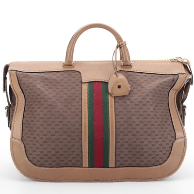Gucci Lockable Zip-Top Travel Bag in Micro GG Canvas, Leather, and Web Stripe