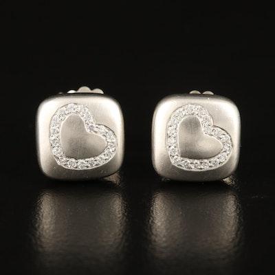 Scott Kay 0.30 CTW Diamond Heart Stud Earrings