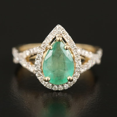 14K Emerald and Diamond Ring with Twisted Shoulders