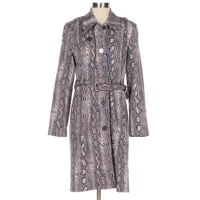 MICHAEL Michael Kors Belted Coat in Lilac Python-Printed Stretch Cotton