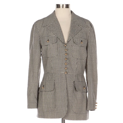 Moschino Cheap and Chic Black and White Check Pattern Wool Jacket