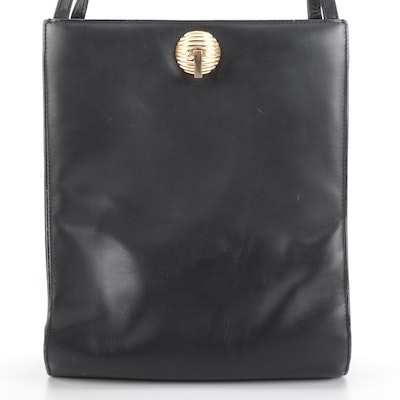 Bally Shoulder Bag in Black Leather with Gold-Tone Clasp and Magnetic Closure