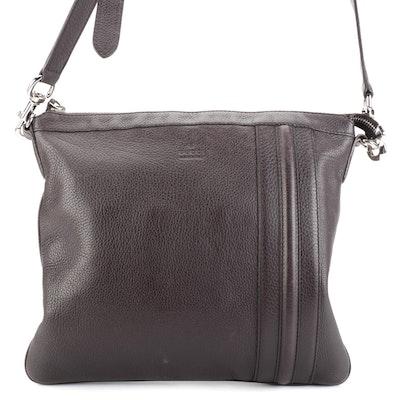 Gucci Zip-Top Shoulder Bag in Dark Brown Pebble Grain Leather