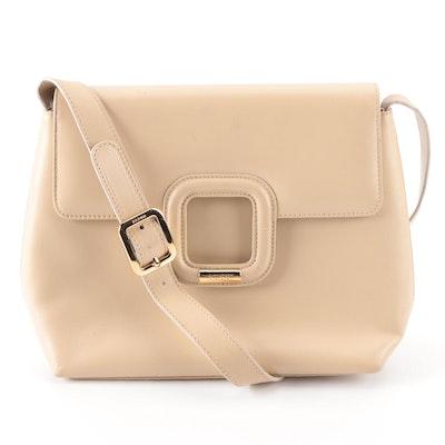 Gucci Front Flap Shoulder Bag in Smooth Beige Leather
