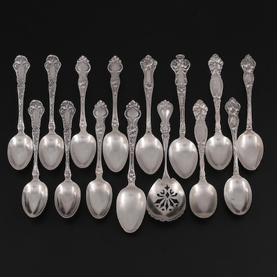 Gorham, Wallace, and Other Sterling Silver Spoons and Sugar Sifter