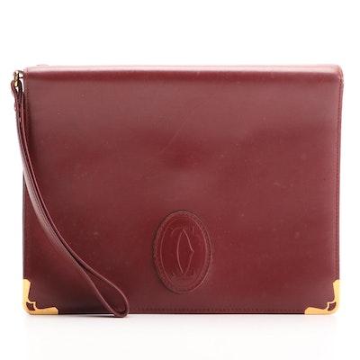 Cartier Burgundy Leather Wristlet