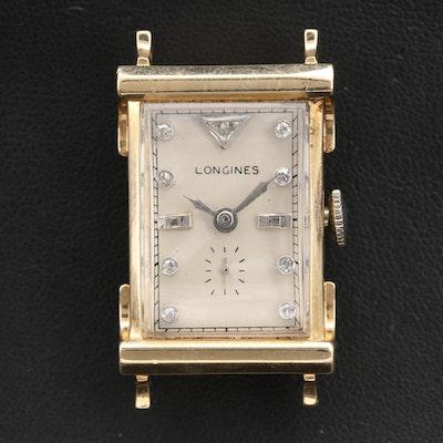 14K Longines Diamond Dial Wristwatch