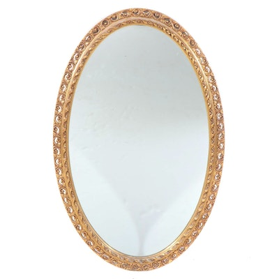 J.A. Olson Permaflect Giltwood Composite Oval Wall Mirror, Mid to Late 20th C.
