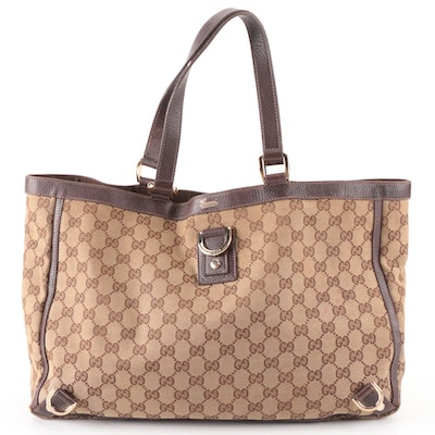 Gucci Abbey D Ring Tote in GG Canvas with Brown Leather Trim
