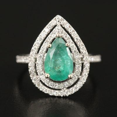 14K 1.61 CT Emerald and Diamond Teardrop Ring