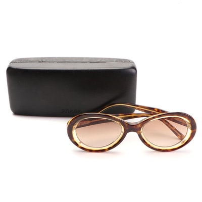 Prada Tortoise Style Oval Sunglasses with Case