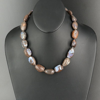 Rebecca Collins Boulder Opal Necklace with Sterling Clasp