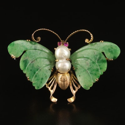 14K Jadeite and Pearl Butterfly Converter Brooch with Ruby Eyes