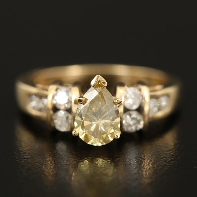 14K Diamond Ring with 0.81 CT Pear Cut Diamond Center