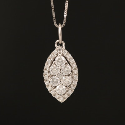14K 0.63 CTW Diamond Navette Pendant Necklace