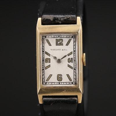 14K Gillot & Co. Tank Style Stem Wind Wristwatch