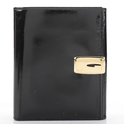 Gucci Wallet in Black Glazed Leather with G-Clasp Closure in Box