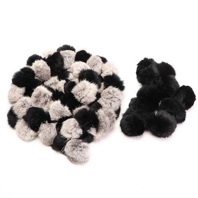 Rabbit Fur Pom-Pom Scarves