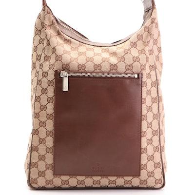 Gucci GG Canvas and Brown Leather Front Pocket Shoulder Bag