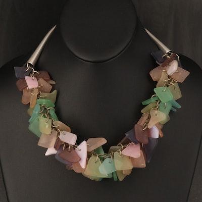 Sea Glass Fringe Necklace