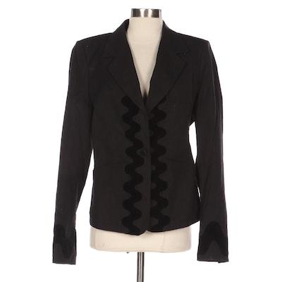 Yves Saint Laurent Notch Lapel Jacket Black Cotton-Canvas with Velvet Appliqué