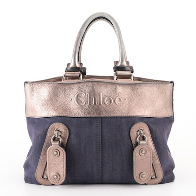 Chloé Tote Bag in Denim with Metallic Leather Trim