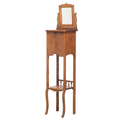 Late Victorian Oak Fall-Front Shaving Stand, circa 1900
