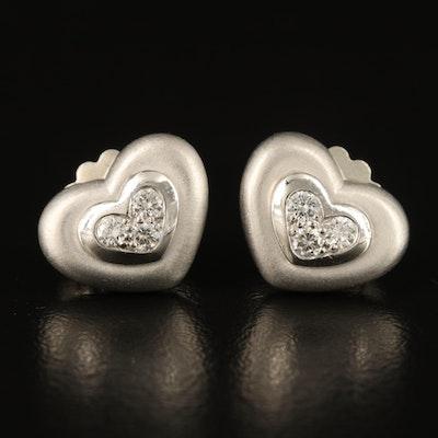 Scott Kay Sterling Diamond Heart Stud Earrings