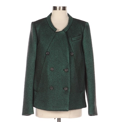 Prada Green and Black Wool Double-Breasted Jacket