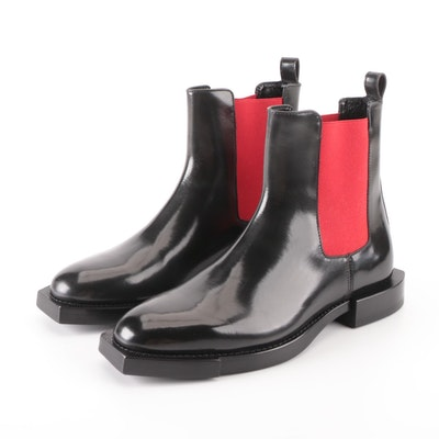 Alexander McQueen Black Leather Chelsea Snip Toe Boots with Box