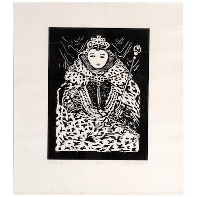 "Figural Relief Print ""Elizabeth,"" 1983"
