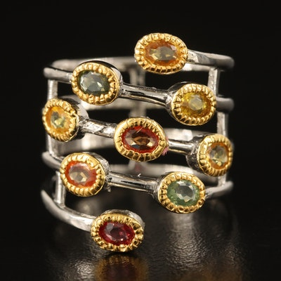 Sterling Yellow Sapphire Wrap Around Ring