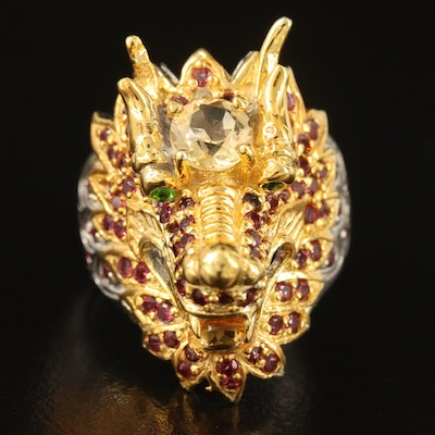 Sterling Dragon Ring with Citrine, Garnet and Diopside