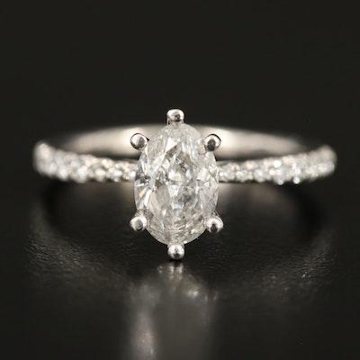 Platinum Diamond Ring with 1.03 CT Center Diamond