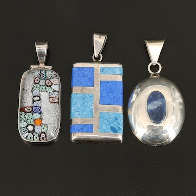 Sterling Pendants Including Millefiori and Sodalite