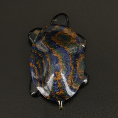 Vintage French Lea Stein Iridescent Compressed Plastic Celluloid Turtle Brooch
