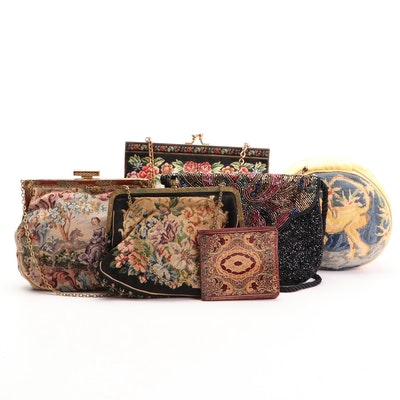 Petit Point and Beaded Evening Bags, Needlepoint Jewelry Pouch and Tooled Wallet