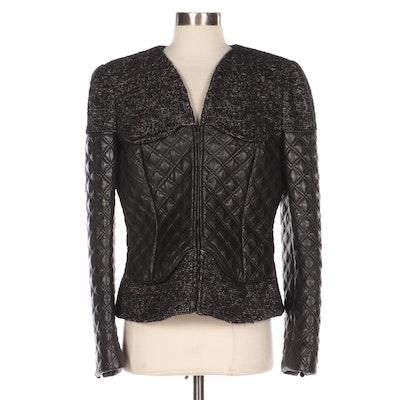 Alexander McQueen Tweed and Quilted Leather Zip Jacket