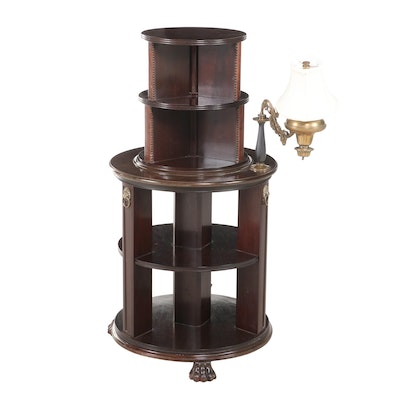 Regency Style Mahogany Revolving Book Stand with Lamp