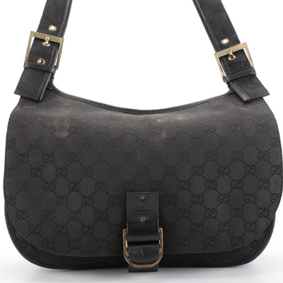 Gucci Saddle Bag in Black GG Canvas with Leather Trim