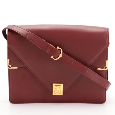 Cartier Le Must Envelope-Style Shoulder Bag in Burgundy Leather