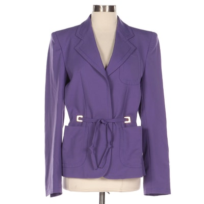 Fendi Purple Twill Three-Button Jacket with Tie Belt