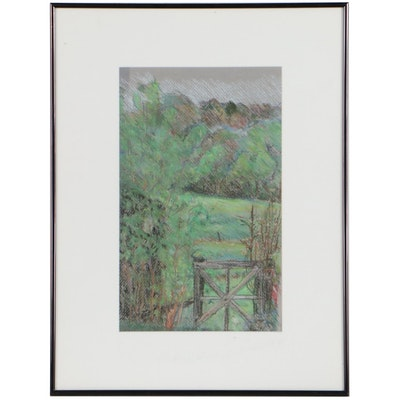 Pastel Drawing of Gate and Field, Circa 2000