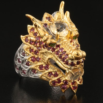 Asian Style Sterling Silver Citrine, Garnet and Diopside Dragon Ring