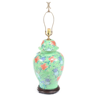 Chinese Hand-Painted Ceramic Ginger Jar Table Lamp