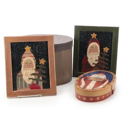 Vicki Huffman Framed Santas with Griffith Wooden Santa Box and Nesting Boxes