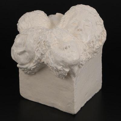 Elsie Kay Harris Ceramic Sculpture of Multiple Portraits, Late 20th Century