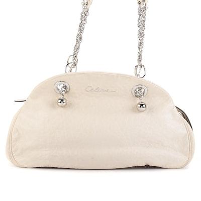 Celine Domed Shoulder Bag in Ivory Leather