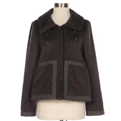 Armani Collezioni Zip-Up Cashmere Jacket with Grosgrain Trim
